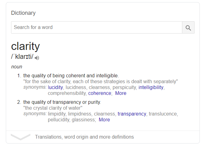 Dictionary definition SERP feature example - defining the word clarity