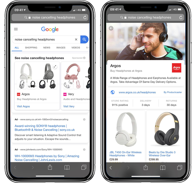 Google Shopping Noise Cancelling Headphones Advertisement