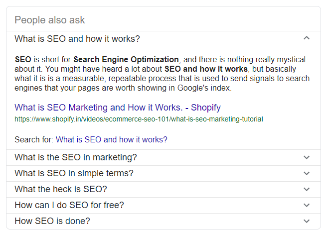 Example of the 'people also ask' SERP feature - showing a question about SEO and how it works