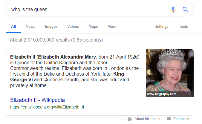 Example of featured snippet SERP feature - who is the queen