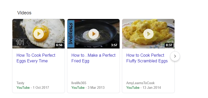 Image showing an example of video SERP feature - on how to make the perfect egg