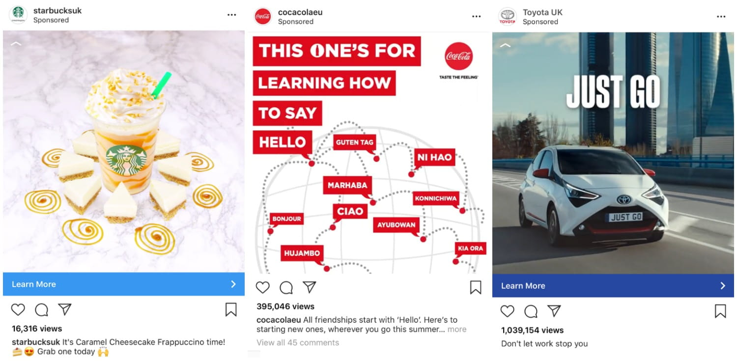 Instagram Ads examples on feed