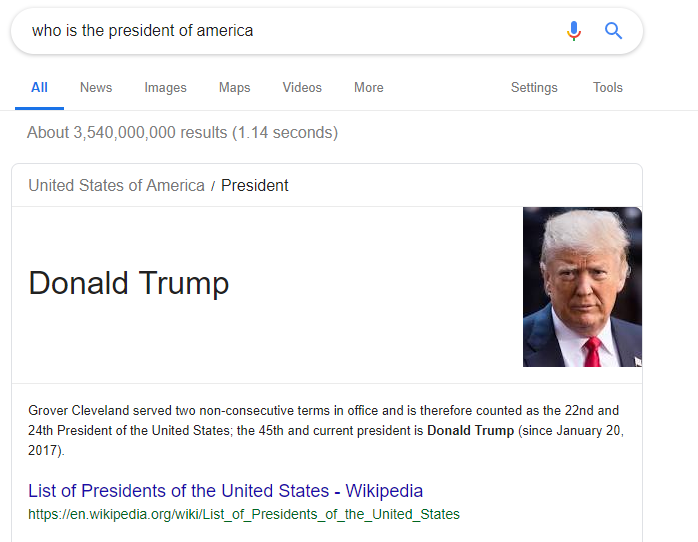 Direct answer box SERP feature example showing the President of America