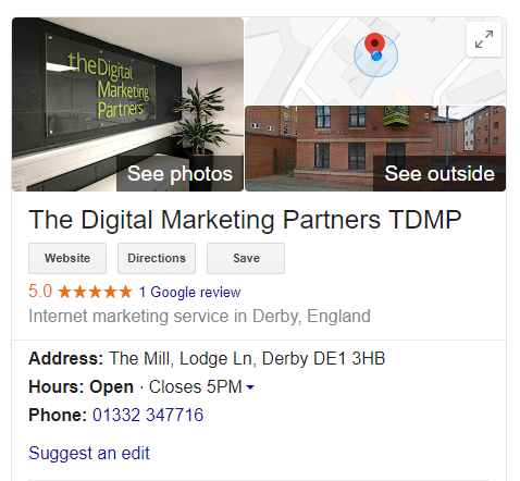 Example of a knowledge panel SERP feature showing the TDMP Google My Business listing