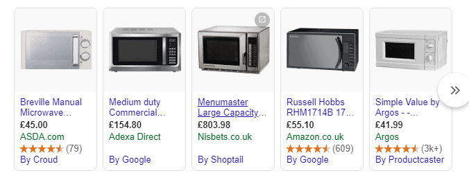 Example of the shopping results SERP feature showing microwaves
