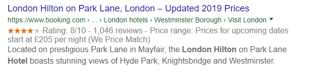 Rich snippet SERP feature example showing the a booking.com listing for a hotel
