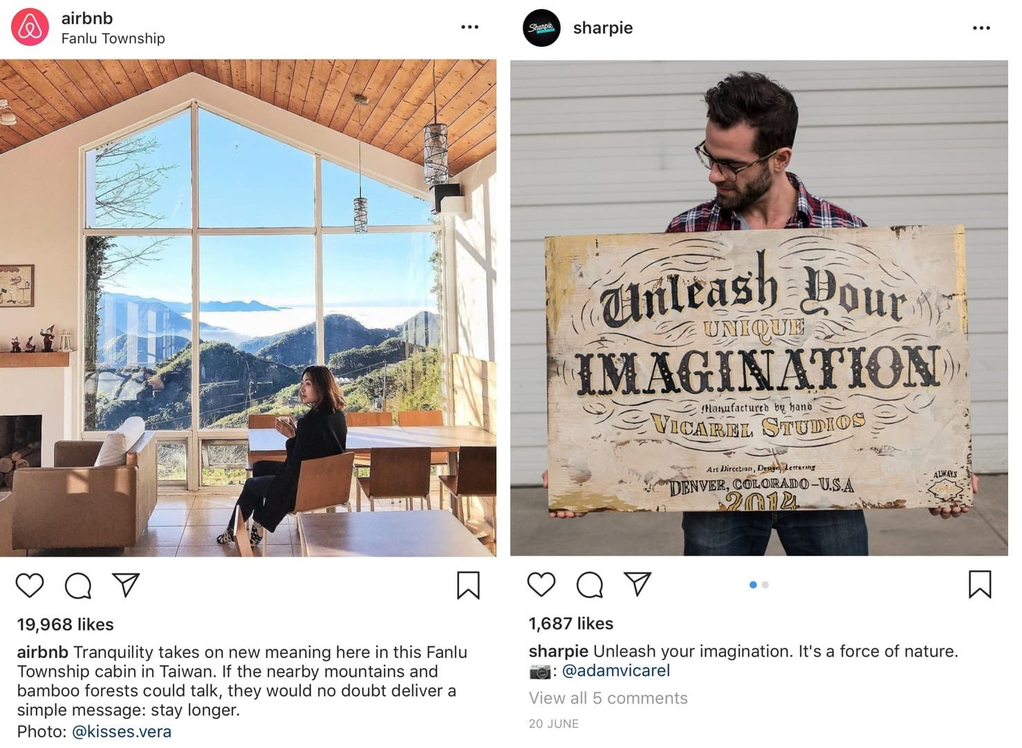 User-generated content examples on Instagram from Airbnb and Sharpie